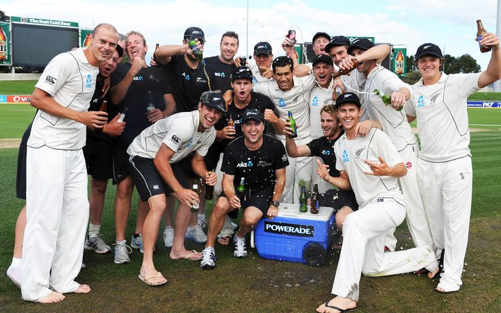 The Black Caps celebrate their win over Australia at Bellerive Oval in Hobart in December 2011.