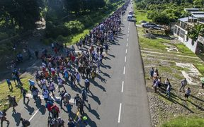 Aerial view of Honduran migrants heading in a caravan to the US, on the road linking Ciudad Hidalgo and Tapachula, Chiapas state, Mexico.