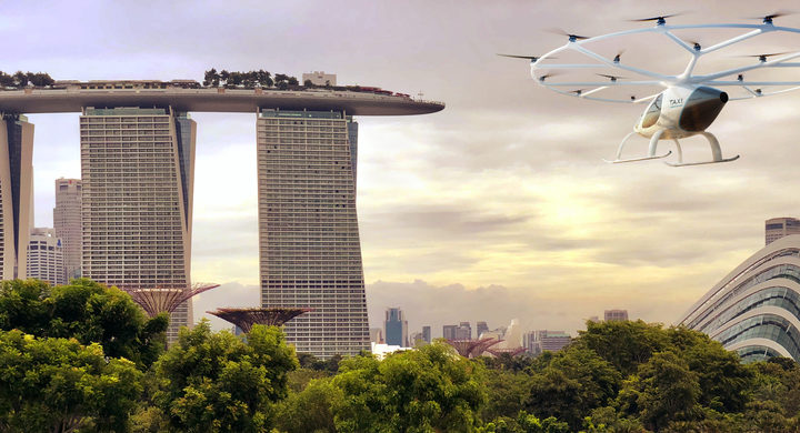 An illustration showing an air taxi heading towards Singapore's Marina Bay Sands.