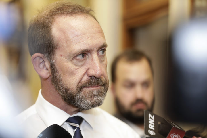 Minister of Justice Andrew Little talking to media.