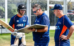 Black Caps captain Kane Williamson with batting coach Craig McMillan and new head coach Gary Stead.