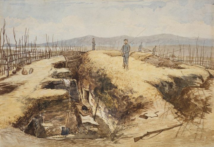 This painting was on the front cover of the London Illustrated News, the defensive trenches Maori used to take cover from British artillery are clearly visible.