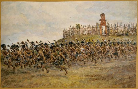 Robley's painting of a haka at Maketu