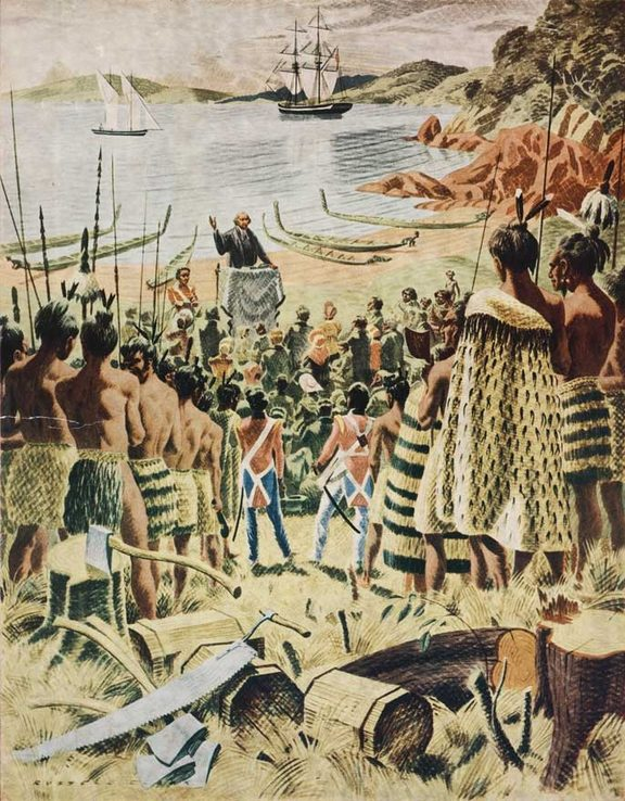 Russell Clark's reconstruction of Samuel Marsden's Christmas Day service at Hohi (Oihi) Bay in 1814.
