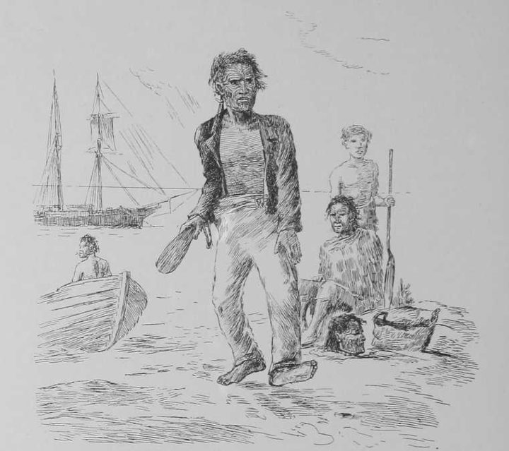 An imagined scene from Robley's book depicting a Maori chief selling mokomokai to European traders.