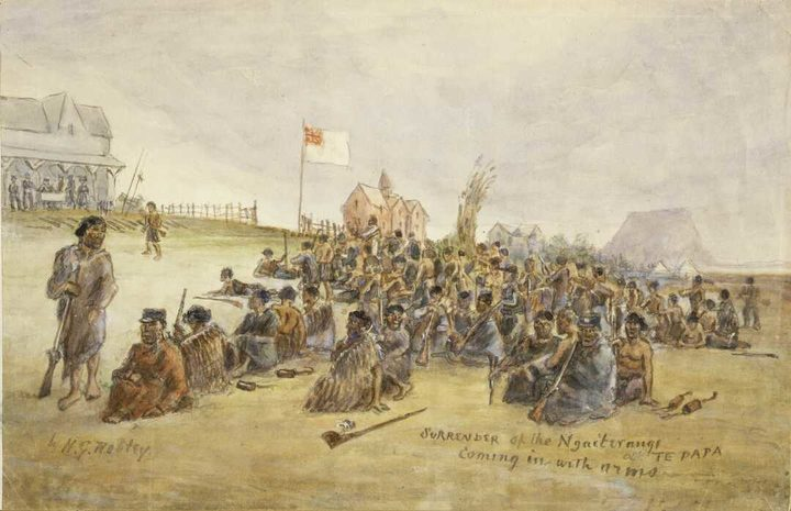 Robley painted the surrender of Ngāi Te Rangi, one of the main iwi the British fought in Tauranga