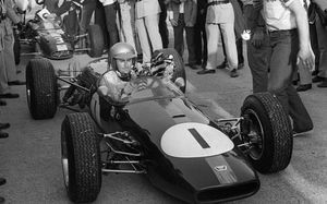 Jack Brabham wins the Grand Prix de France at Monthléry in September, 1966.