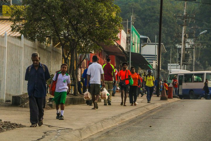 Foot traffic in inner Port Moresby.