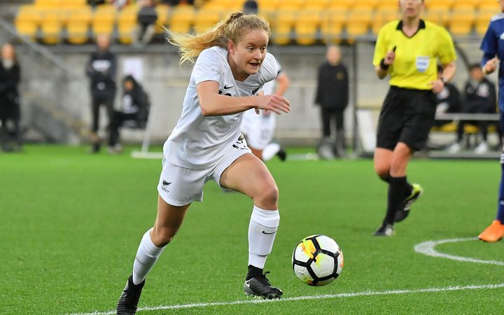 Football Ferns Paige Satchell during match between New Zealand and Japan