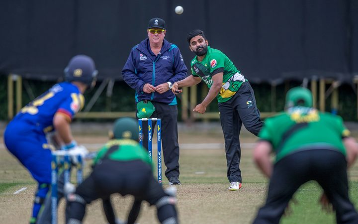 Ajaz Patel in action for the Central Stags.