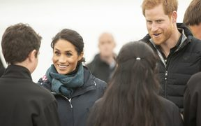 Prince Harry and Meghan, Duchess of Sussex visit Totaranui Campground in the Abel Tasman National Park on Monday.