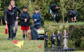 Tree planting and gumboot throwing were on the schedule for the Royal couple today.