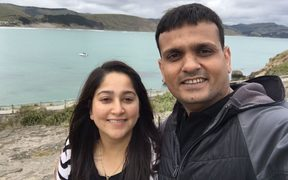 Shyamal Patel and her husband.