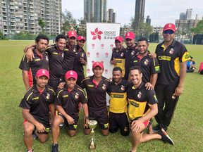 The PNG Barramundis celebrate another one day series win over Hong Kong.