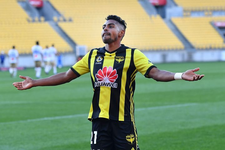 Roy Krishna celebrates his goal against the Newcastle Jets, which made him the club's joint all-time leading scorer.