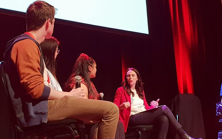 Prime Minister Jacinda Ardern takes part in a youth panel.