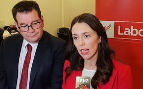 Grant Robertson and Jacinda Ardern at the Labour Party conference.
