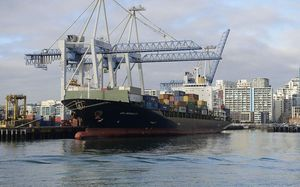 Container ship in Auckland.