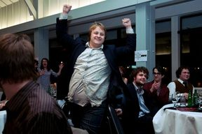 Uther Dean pictured winning Best Reviewer Award at the Aotearoa Student Press Association Awards in 2010