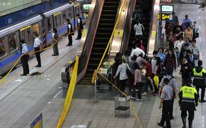 The scene of the stabbing at the Jiangzicui metro station in Taipei.