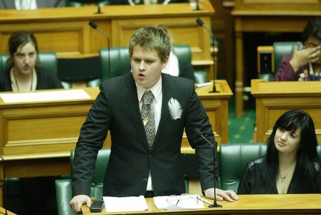 A picture of Jack McDonald at Youth Parliament in 2010