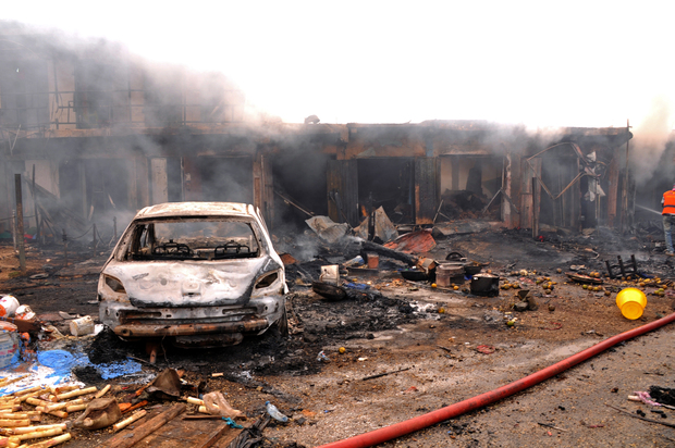 The bomb blast at the Terminus market in the city of Jos is thought to be the work of Boko Haram.