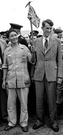 Sherpa Tenzing Norgay and Sir Edmund Hillary arriving in Britain on 3 July 1953 after the Everest expedition.
