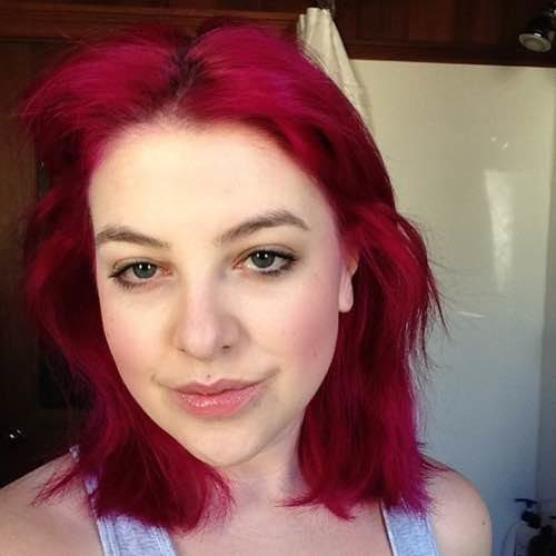 A selfie of Kate Iselin - complete with fuschia hair