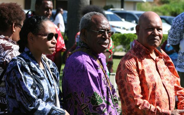 Members of the United Liberation Movement for West Papua at a Melanesian Spearhead Group summit in 2013: Paula Makabori, Dr John Ondawame, Rex Rumakiek