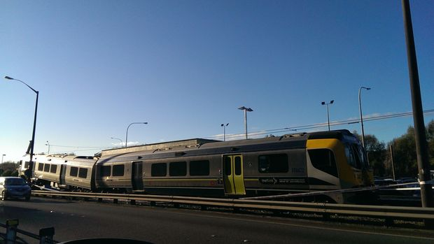 The derailed train at Melling in Lower Hutt.