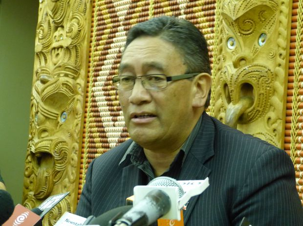 Hone Harawira at the announcement of the Internet Mana party.