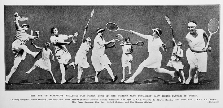 "1928: ""THE AGE OF STRENUOUS ATHLETICS FOR WOMEN: NINE OF THE WORLD'S MOST PROMINENT LADY TENNIS PLAYERS IN ACTION."""