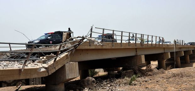 A border bridge connecting Nigeria and Cameroon which was destroyed by Boko Haram on 5 May at Ngala in Borno State in northeastern Nigeria.