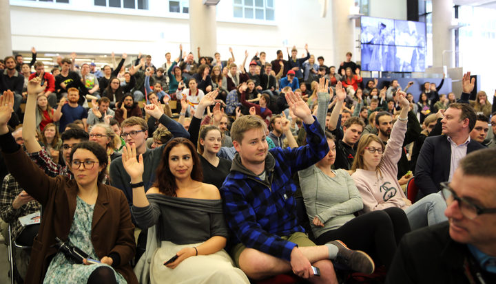Hands up at the Victoria University Mayoral debate when asked if they will vote in the local elections