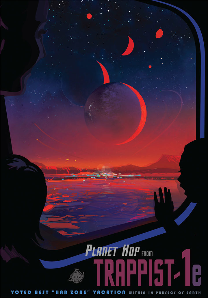 This NASA poster imagines what a trip to TRAPPIST-1e might be like.