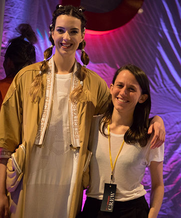 Designer Lila John with a model wearing one of her garments at the iD  Emerging Designer Awards.
