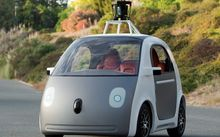 A self-drive two-seat prototype vehicle designed by Google.