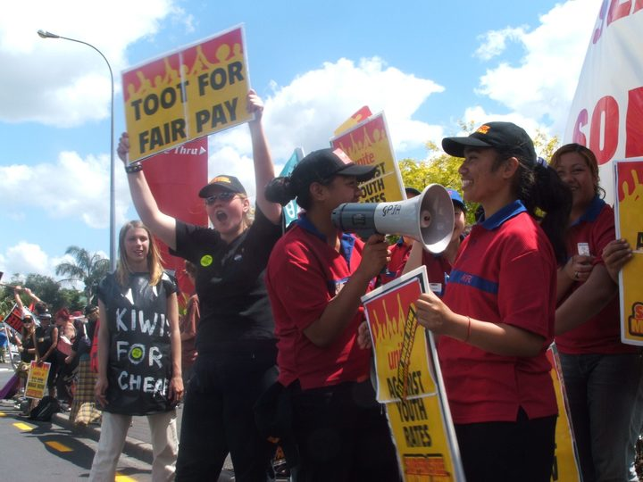 Fast food workers protest against youth rates in 2005.