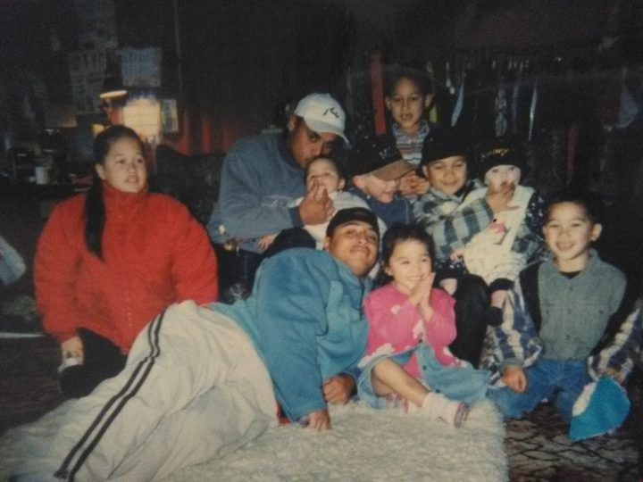 With the whānau back in the day.