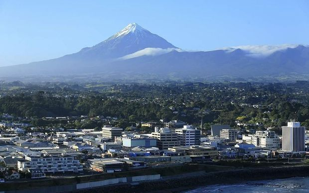 Central New Plymouth looking to Mt Taranaki from the sea.