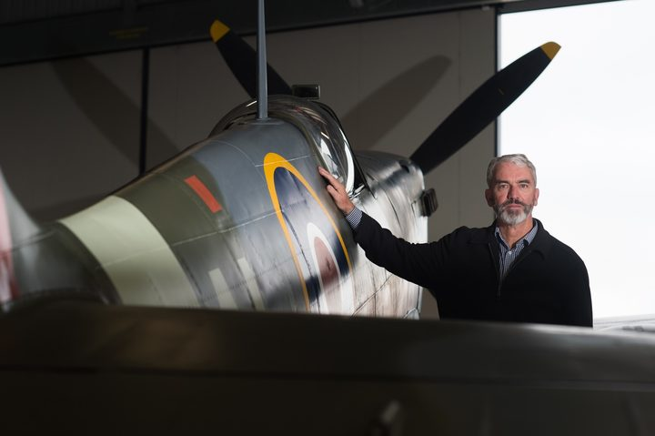 Brendon Deere with his Spitfire.