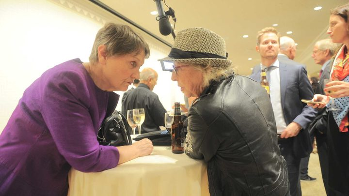 Helen Clark chats to Gaylene Preston during the filming of My Year with Helen.