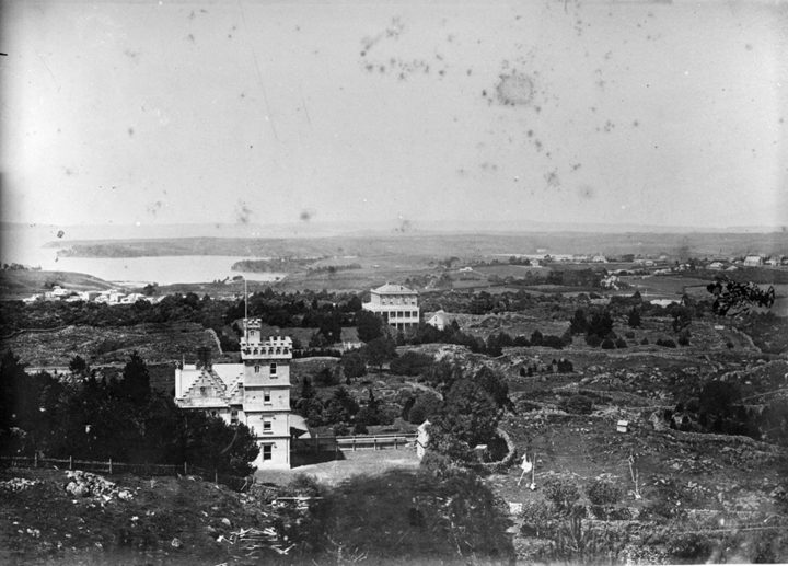 Looking east from Mt Eden, showing Clifton House, Mater Misericordiae Hospital on Mountain Rd (centre) and Hobson Bay in the background.
