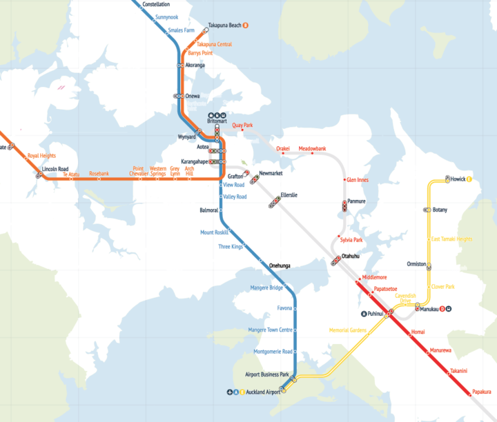 Infographic showing Labour's proposed North-Western light rail line (orange), central line (blue), and rapid bus link (yellow).