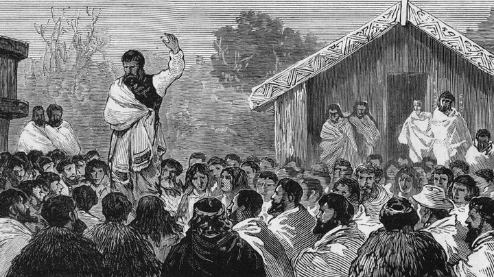 The Prophet Te Whiti Addressing a Meeting of Natives from The Graphic (1881)