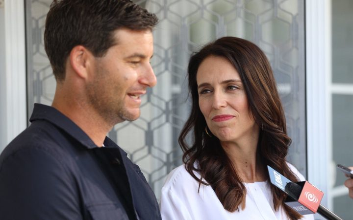 Jacinda Ardern and Clarke Gayford at their first media appearance after the announcement of the Prime Minister's pregnancy.