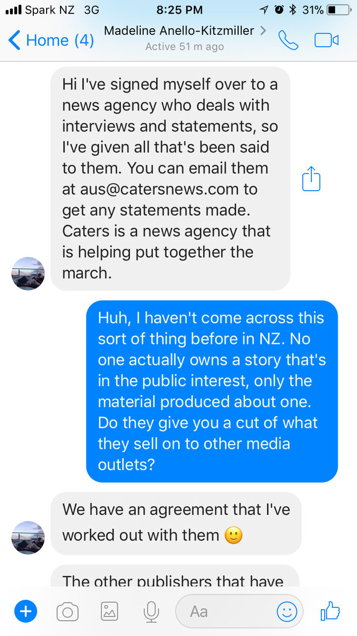 A screenshot of the conversation between Madeline Anello-Kitzmiller and Wireless Editor Marcus Stickley on Facebook Messenger.