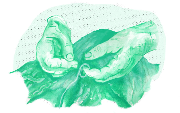 Watercolour picture of hands knitting.