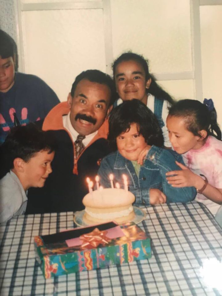 """He's my superman"". A Young Miria Flavell with her father, Māori Party leader Te Ururoa Flavell."