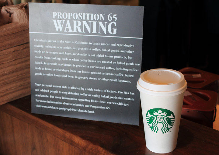 A proposition 65 warning at Starbucks